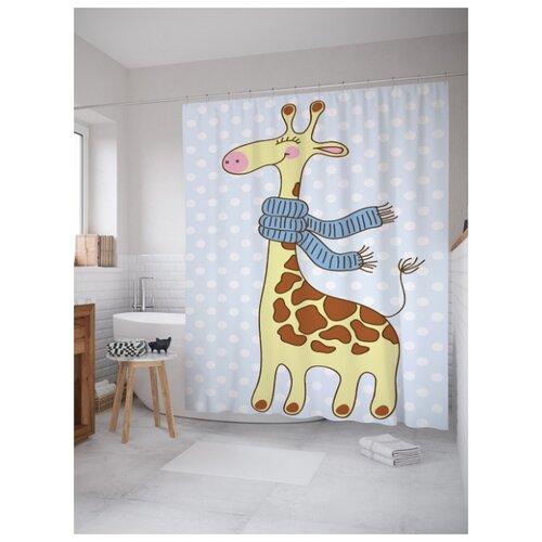 Штора для ванной JoyArty Жираф с шарфом 180х200 (sc-9549) разноцветный