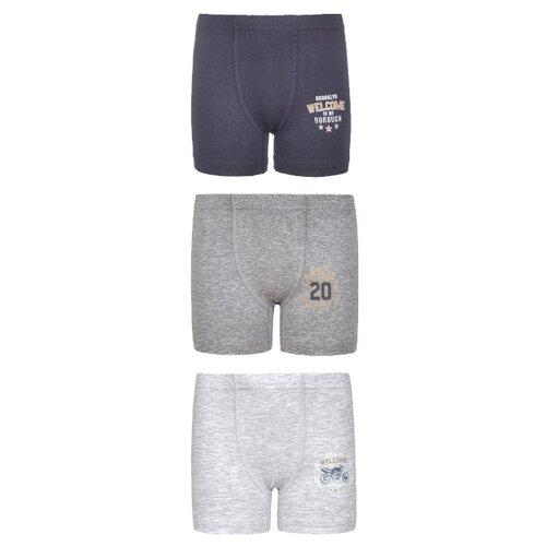 Купить Трусы BAYKAR 3 шт., размер 110/116, светло-серый/серый/синий, Белье и пляжная мода