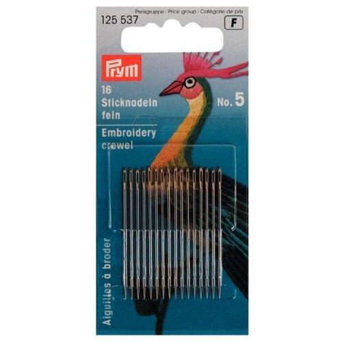 Купить Набор игл ручных Prym 125537 тонкие для вышивки, 0, 80 x 41мм, серебристый, N5, 16 шт., Иглы