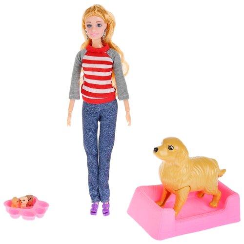 Кукла Карапуз София с собакой и щенками, 29 см, K108966-1-S-KT кукла 29см с собакой и 3 мя щенками с аксесс bn839 в кор 23 6 32 5см в кор 2 30шт b1699463