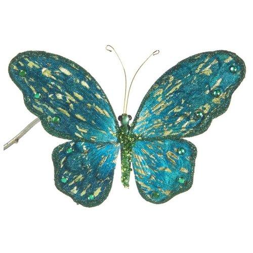 Елочная игрушка Goodwill Бабочка на клипсе 18 см (A 54129) изумрудный.