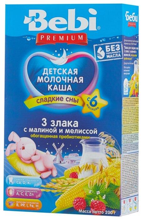 Каша Bebi молочная 3 злака с малиной и мелиссой (с 6 месяцев) 200 г
