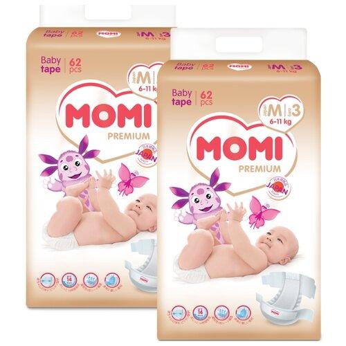 Купить Momi подгузники Premium M (6-11 кг), 124 шт., Подгузники