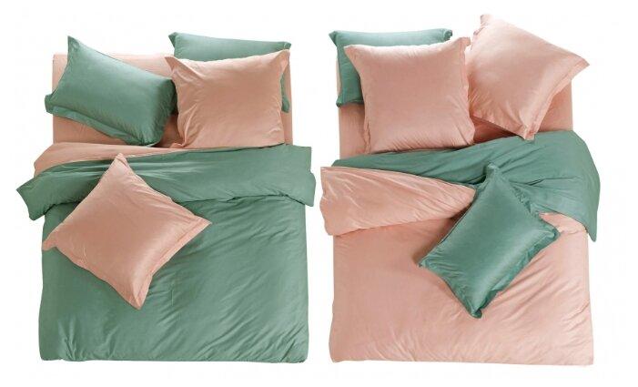Постельное белье евростандарт СайлиД L-3, сатин розовый / зеленый