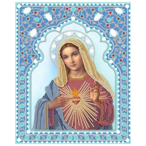 Купить Непорочное сердце Марии (рис. на сатене 20х25) (строчный шов) 20х25 Конек 7103, Конёк, Канва