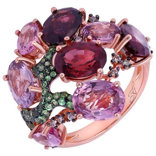 JV Кольцо из розового золота 585 пробы с шпинелями, бриллиантами и сапфирами RG-34287-KO-OS-CSP-PINK, размер 17.5