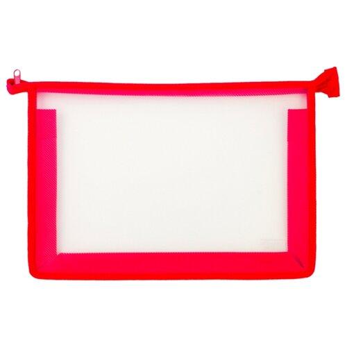 Купить Пифагор Пифагор Папка для тетрадей А4, молния сверху, прозрачная красный, Файлы и папки