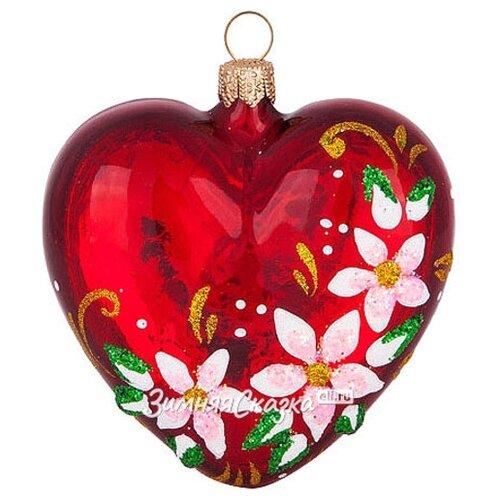 Фото - Елочка Стеклянная елочная игрушка Сердечко Очарование 6.5 см, подвеска С728 scb271028 металлическая подвеска сердечко белая ножка 9 см сердечко 5 3 см scrapberry s
