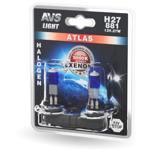 Фото - Лампа автомобильная галогенная AVS Atlas A78567S H27/881 27W 12V 2 шт. лампа автомобильная галогенная mtf dynamic blue hdb1280 h27 880 12v 27w 2 шт