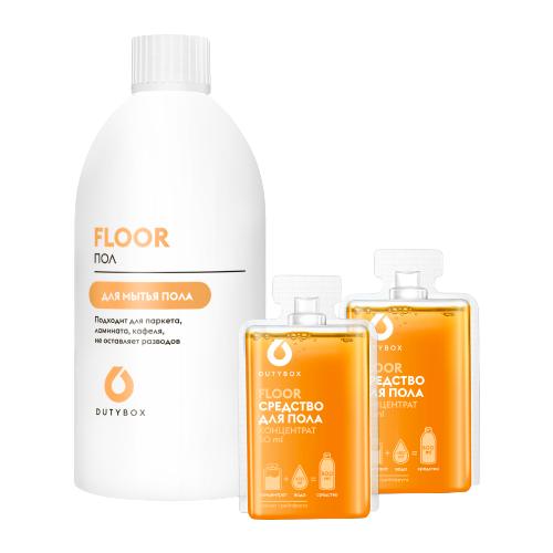 DUTYBOX Набор Средство для мытья пола Floor: многоразовая бутылка и 2 концентрата