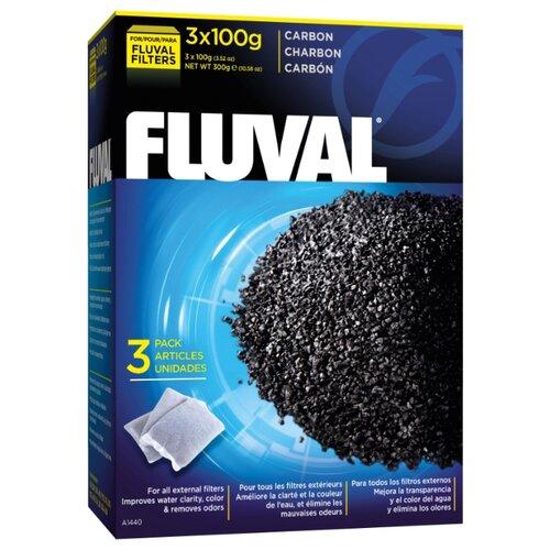 Наполнитель Fluval Carbon 100 г (комплект: 3 шт.) черный fluval картридж fx5 6 carbon impregnated foam pad комплект 2 шт черный