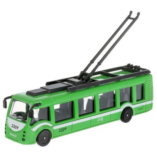 Купить Троллейбус ТЕХНОПАРК SB-18-10WB/SB-18-10-GN-WB 15 см зеленый, Машинки и техника