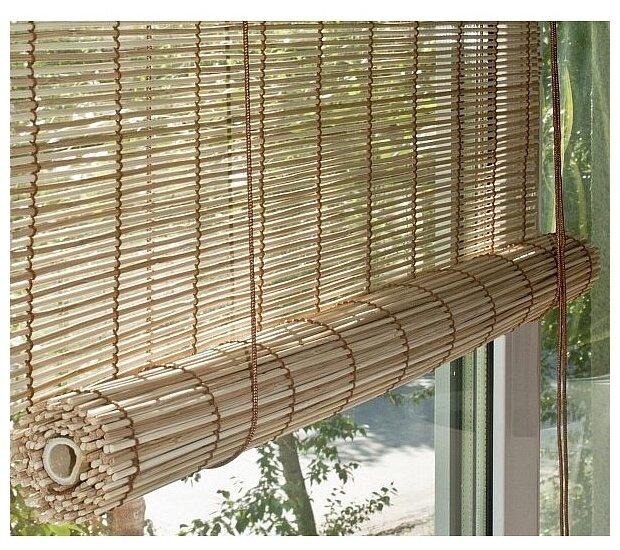 Рулонная штора Эскар бамбуковые (натур-микс)