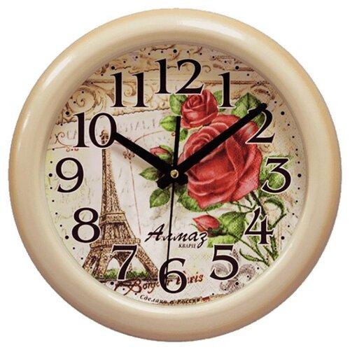 Часы настенные кварцевые Алмаз H54 бежевый