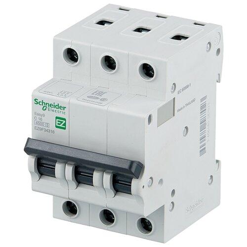 Автоматический выключатель Schneider Electric Easy 9 3P (C) 4,5kA 16 А автоматический выключатель schneider electric ez9f34306 easy 9 3p 6a c