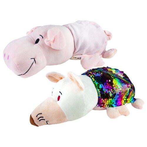 Мягкая игрушка 1 TOY Вывернушка Блеск Свинья-Крыса 35 см