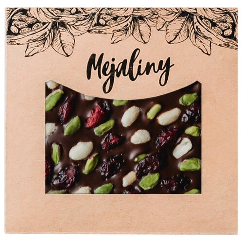 Шоколад Mejaliny молочный с фисташкой, арахисом и клюквой, 38%, 80 г