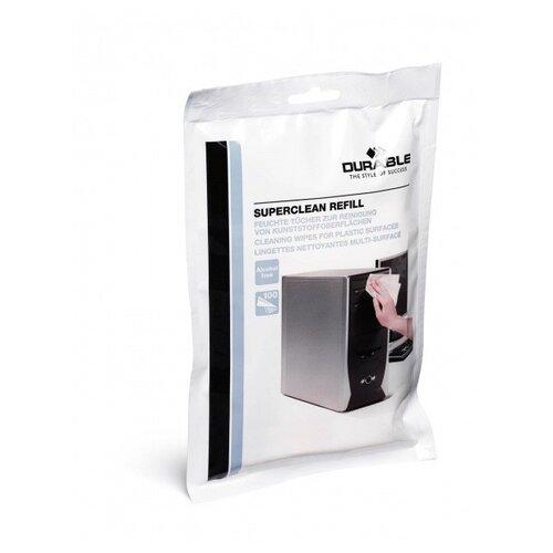 Фото - Сменный блок влажных салфеток для тубы Superclean набор для чистки мониторов durable screenclean спрей 125 мл 20 салфеток