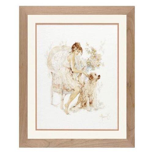Купить Lanarte Набор для вышивания Девушка на стуле с собакой 39 x 49 см (0007951-PN), Наборы для вышивания