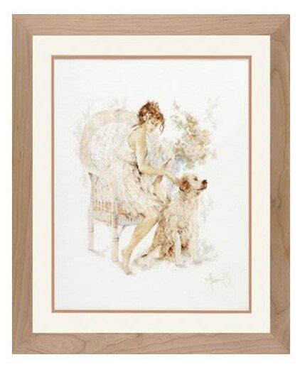 Lanarte Набор для вышивания Девушка на стуле с собакой 39 x 49 см (0007951-PN)
