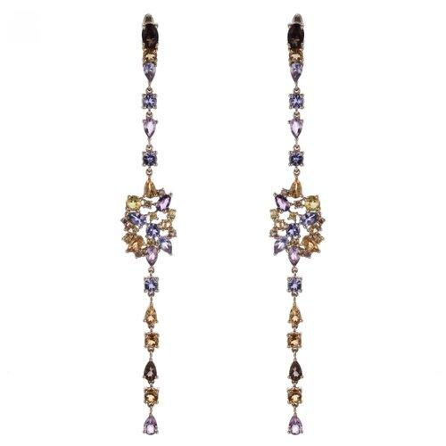 JV Серьги из золота 585 пробы с танзанитами, бриллиантами, цветными полудрагоценными камнями и сапфирами RE6707-DN-YS-MC-TA-YG