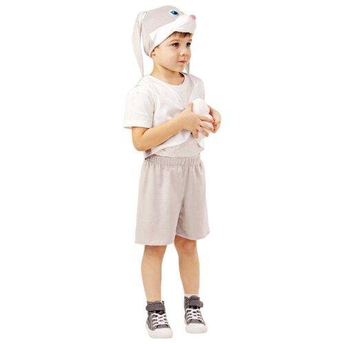 Купить Костюм пуговка Заяц серый Прошка (4006 к-18), серый/белый, размер 128, Карнавальные костюмы