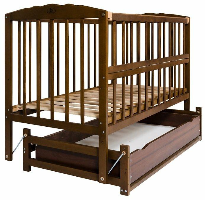 Кроватка Гойдалка Кровать-маятник с ящиком и откидной боковиной