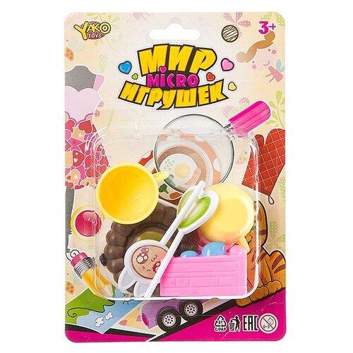 Купить Набор продуктов с посудой Yako M7638 (Д93787) розовый/желтый, Игрушечная еда и посуда