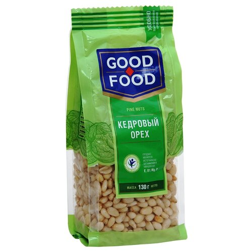 Кедровый орех GOOD FOOD очищенный сушеный, пластиковый пакет 130 г конфеты good food марципановое пралине пакет 200 г