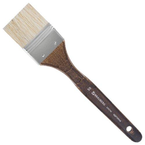 Купить Кисть BRAUBERG Classic, щетина №50, флейц, короткая ручка (200746) коричневый, Кисти