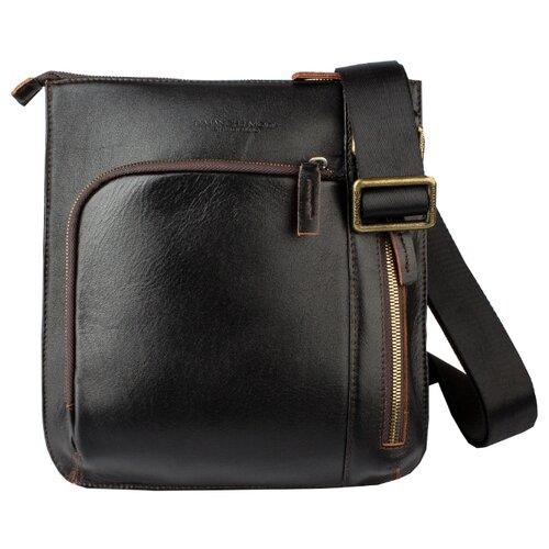 Сумка планшет Dimanche, натуральная кожа, черный/коричневый сумка поясная dimanche натуральная кожа красный