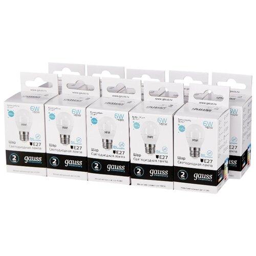 Упаковка светодиодных ламп 10 шт gauss 53226, E27, G45, 6Вт упаковка светодиодных ламп 10 шт gauss 102802106 e27 a60 6вт