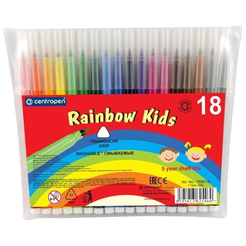 Фото - Centropen Набор фломастеров Rainbow Kids (7550), 18 шт. centropen набор фломастеров rainbow kids 12 шт 7550 12