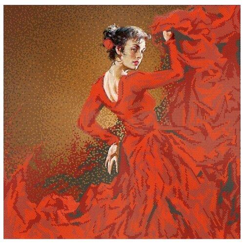 Купить Фламенко (рис. на сатене 40х40) (круговая техника) 40х40 Конек 9522, Конёк, Канва