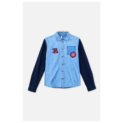 Рубашка playToday размер 146, темно-синий/синий рубашка женская bello belicci цвет темно синий sa1 9 размер xl 48