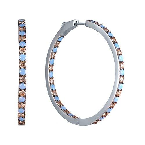 JV Серебряные серьги с фианитом, ониксом SY-355445-E-SR-OX-001-WG