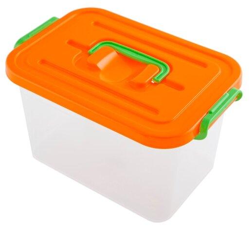 ПОЛИМЕРБЫТ Контейнер для хранения 6,5л, 31х20х18 см белый/зеленый/оранжевый