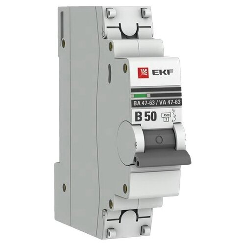 Фото - Автоматический выключатель EKF ВА 47-63 1P (B) 4,5kA 50 А автоматический выключатель ekf ва 47 63 1p b 6ka 50 а