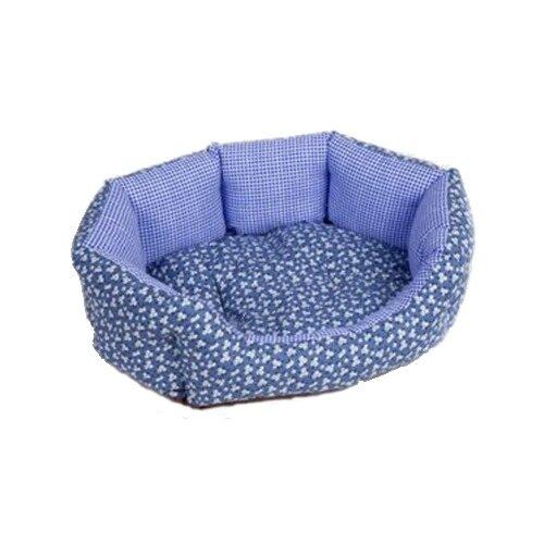 Лежак для собак и кошек Зоо Фортуна Манчестер Ромашка №3 70х56х18 см голубой
