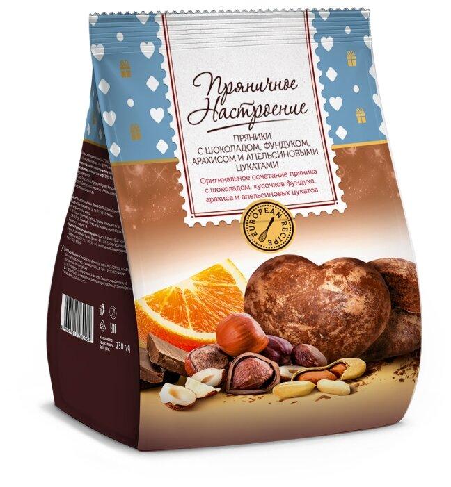 Пряники Пряничное настроение с шоколадом фундуком арахисом и апельсиновыми цукатами 0,23кг
