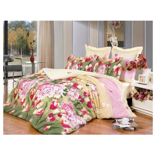 цена Постельное белье 2-спальное СайлиД B-115, сатин бежевый/розовый/зеленый онлайн в 2017 году