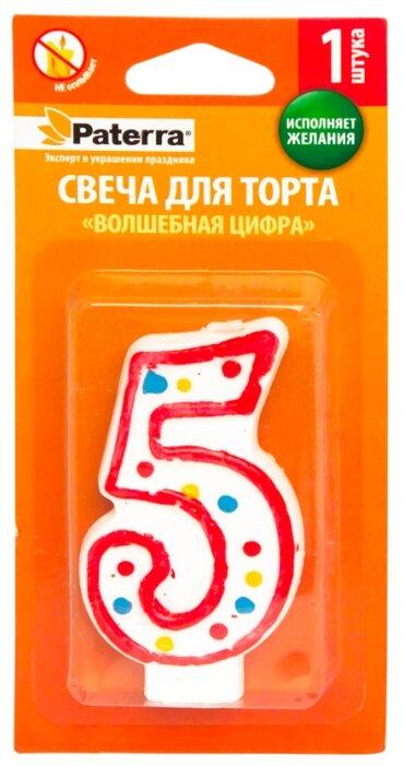 Paterra Свеча для торта Волшебная цифра 5 белый/красный