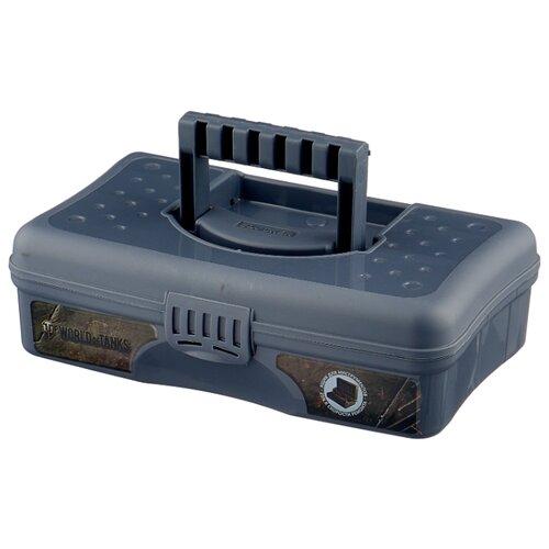Ящик с органайзером BLOCKER World of Tanks BR5008 29.5x18x9 см 12'' серо-свинцовый ящик с органайзером blocker master br6006 61x32x30 см 24 серо свинцовый оранжевый
