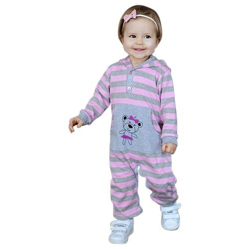 Комбинезон Лапушка размер 80, серый / розовый комбинезон утепленный для девочки batik торопыжка цвет розовый 147 19з размер 86