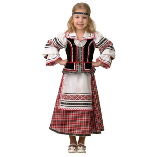 Купить Костюм Батик национальный для девочки (5600), красный/белый, размер 122, Карнавальные костюмы