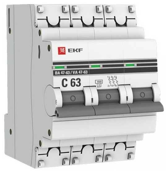 Автоматический выключатель EKF ВА 47-63 3P (C) 4,5kA