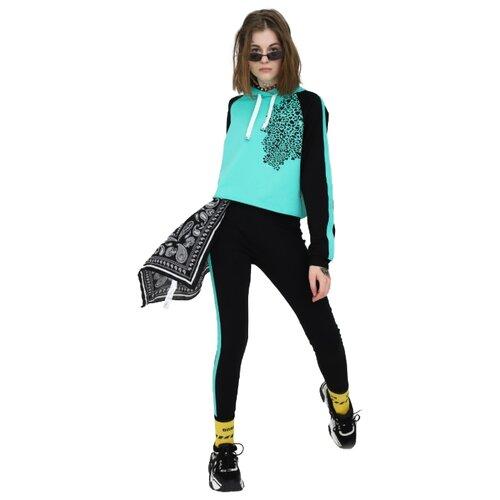 Спортивный костюм Nota Bene размер 116, черный/мятный леггинсы nota bene размер 116 мятный