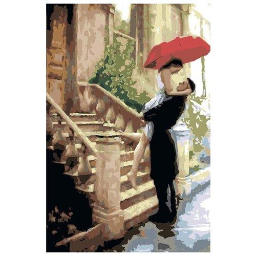 Купить Картина по номерам Живопись по Номерам Встреча под зонтом , 40x60 см, Живопись по номерам, Картины по номерам и контурам