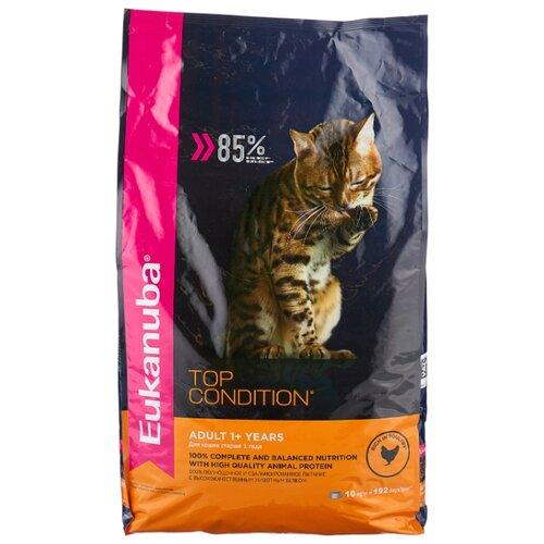 Корм для кошек Eukanuba Top Condition для здоровья кожи и шерсти, домашняя птица и с рисом 10 кг корм eukanuba для кошек для выведения комков шерсти 2 кг