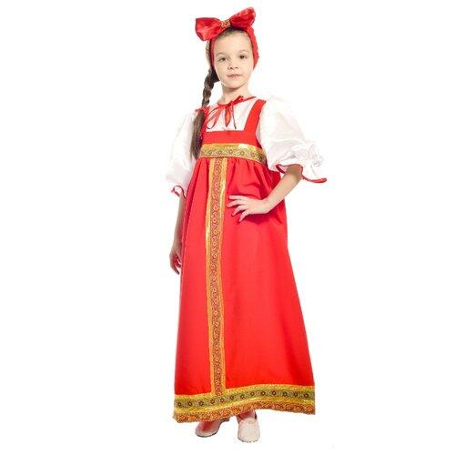 Костюм ПТИЦА ФЕНИКС Барыня в красном сарафане P0093, красный/белый, размер 122-128, Карнавальные костюмы  - купить со скидкой